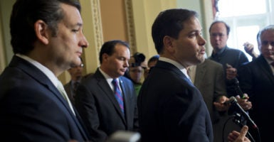 Sens. Mike Lee of Utah, Marco Rubio of Florida, and Ted Cruz of Texas sent a letter to Senate GOP leaders affirming their support for the repeal of Obamacare using a budget tool called reconciliation. (Photo: Tom Williams/CQ Roll Call/Newscom)