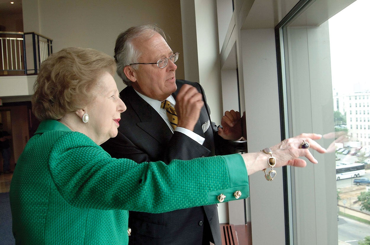 Ed Feulner on a tour of The Heritage Foundation in 2003 with former British Prime Minister Margaret Thatcher. (Photo courtesy of The Heritage Foundation)