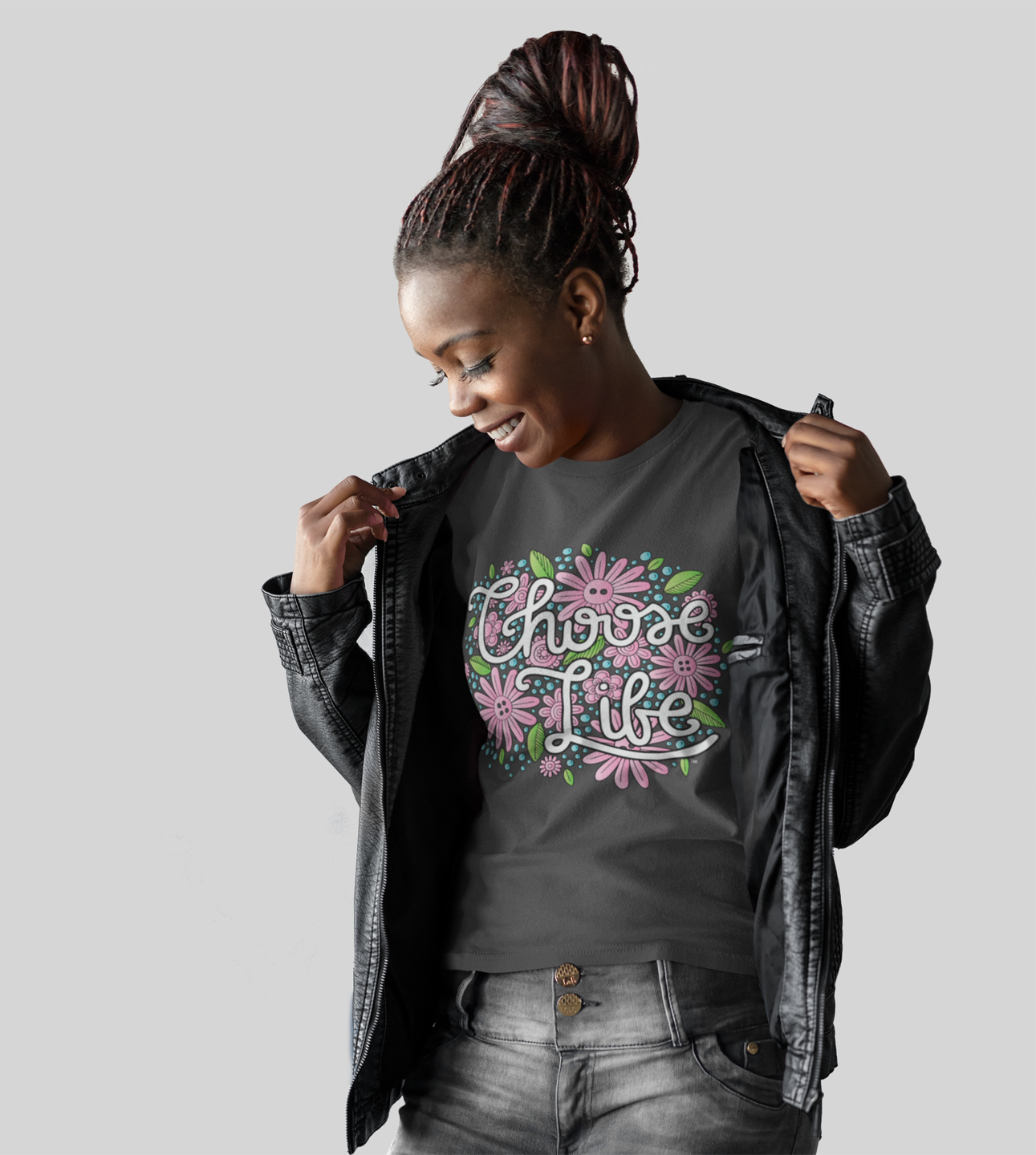 "LifeCulture Apparel features hand-drawn designs with messages like ""Choose Life"" on the shirt above."