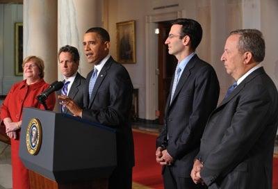 President Obama with his economic advisers