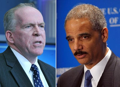 Homeland Security Adviser John Brennan (l) and Attorney General Eric Holder (r)