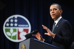 President Obama speaks on the one-year anniversary of his stimulus bill