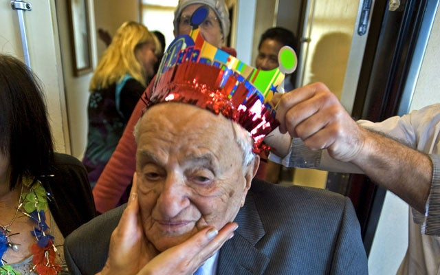 Man celebrating his 100th birthday