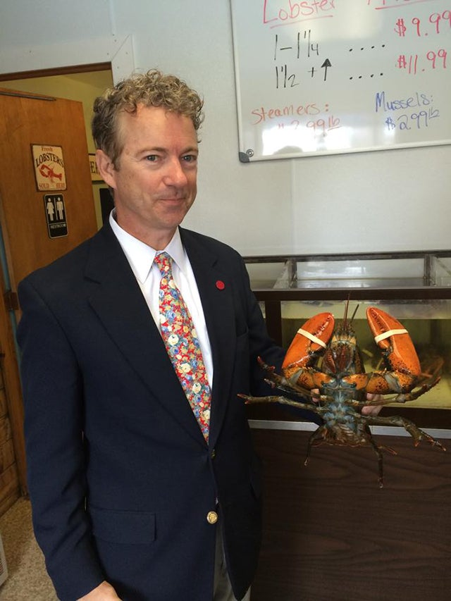 Food pictures are popular on the Senator's Facebook page. When posting this one from an April 2014 trip to Maine, Paul asked for lobster recipes. (Photo: Rand Paul Facebook)