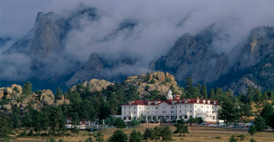 A morning storm looms over the historic Stanley Hotel, hiding Lumpy Ridge in Estes Park, Colo. (Photo: James Frank Stock Connection Worldwide/Newscom)