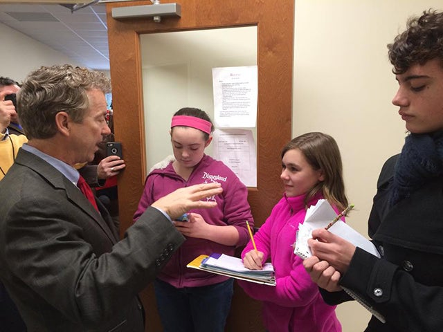 Journalists from The Founders Academy Newspaper interview Paul in January. (Photo: Rand Paul Facebook)