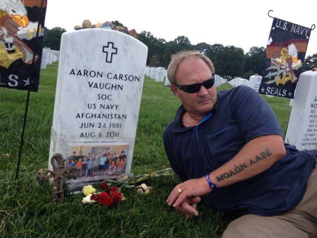 Billy Vaughn visiting Aaron at Arlington Cemetery on Father's Day 2013.
