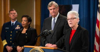 EPA Administrator Gina McCarthy delivers remarks. (Photo: Shawn Thew/EPA/Newscom)