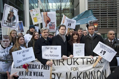 Protesters against decision not to halt Gary McKinnon's extradition to the US