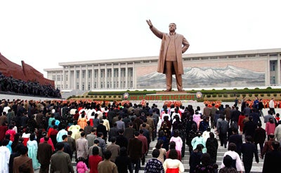 Statue of late North Korean President Kim Il Sung at Mansu Hill in Pyongyang