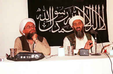 "OSAMA BIN LADEN, WITH AYMAN AL-ZAWAHIRI, HIS ""RIGHT HAND"" MAN."