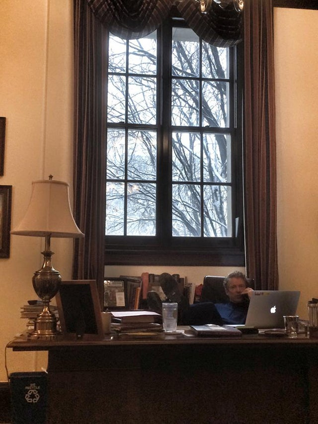 """The federal government might be closed, but I'm working in my DC office today,"" Paul posted on an early March snow day. (Photo: Rand Paul Facebook)"