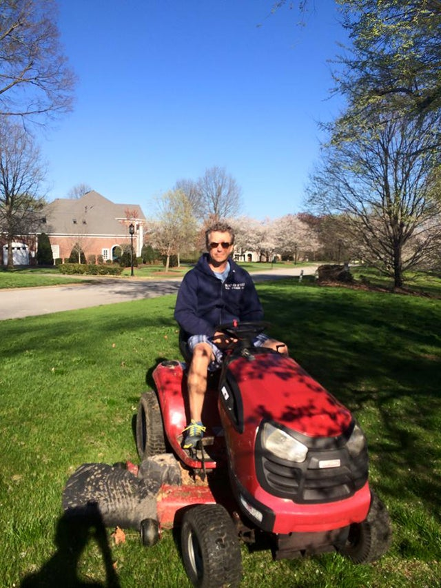 The Senator at home mowing his lawn. (Photo: Rand Paul Facebook)