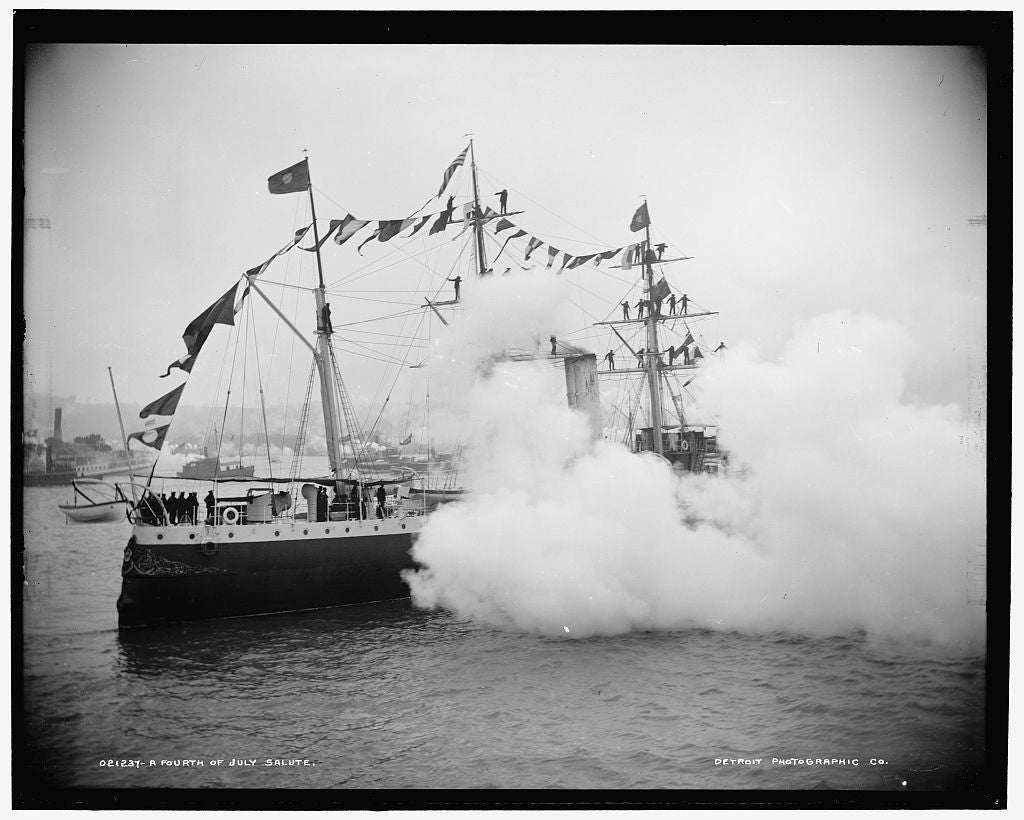 The Brazilian Gunboat Tiradentes fires a salute to honor the 4th of July in 1893. (Photo: The Library of Congress)