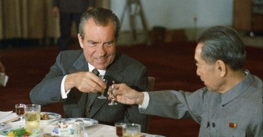 Nixon and Chinese Premier Zhou Enlai toast during Nixon's 1972 visit to China. (Photo: Richard Nixon Presidential Library and Museum)