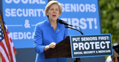 Sen. Elizabeth Warren, D-Mass, speaks at a rally supporting Social Security and Medicare in Washington, D.C. (Photo: Kevin Dietsch/UPI/Newscom)