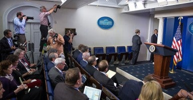 President Obama departs the James S. Brady Press Briefing Room of the White House. (Photo: David Lienemann)