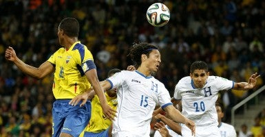 A World Cup soccer match between Honduras and Ecuador. (Photo: Liao Yujie/Xinhua/Newscom)