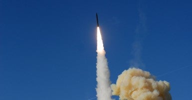 A January 2010 photo of a flight test of the Ground-Based Midcourse Defense System. (Photo: The U.S. Missile Defense Agency)