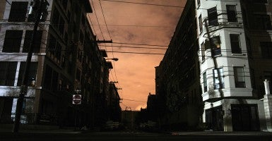 Blackout conditions in Hoboken, New Jersey after Hurricane Sandy. (Photo: Alec Perkins)