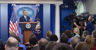 President Obama speaks about situations in Iraq at the briefing room of the White House in Washington D.C. on June 19, 2014. (Photo: Xinhua/Yin Bogu/Newscom)