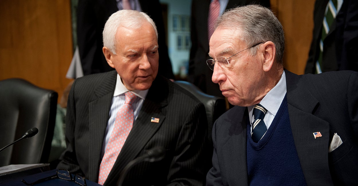 Sen. Orrin Hatch, R-UT and Sen. Charles Grassley, R-IA (Photo: Douglas Graham/CQ Roll Call)