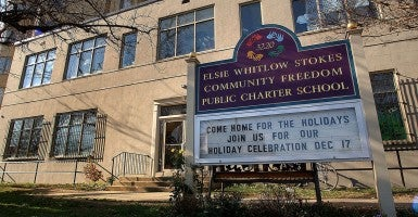 The marquee sign outside of Elsie Whitlow Stokes Community Freedom Public Charter School where President Bush's daughter Jenna has applied for a teaching position. (Oliver Douliery?ABACA/Newscom)