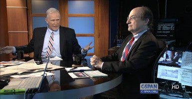 The Heritage Foundation's David Kreutzer, left, debates Daniel Weiss of the League of Conservation Voters on C-SPAN.