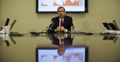 Congressional Budget Office Director Douglas Elmendorf speaks to the media about the release of the 2013 long-term budget outlook in September 2013. (Photo: Jim Lo Scalzo/Newscom)
