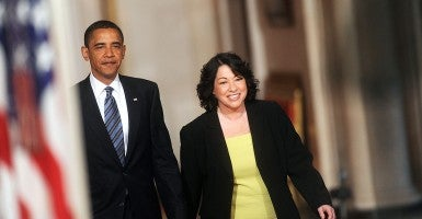 Judge Sonia Sotomayor of the Court of Appeals for the Second Circuit walks in the White House with President Barack Obama to a news conference where he nominated her for the U.S. Supreme Court to fill the spot of retiring Justice David Souter on Tuesday, May 26, 2009. (Photo: Olivier Douliery/Abaca Press/MCT)