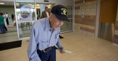 A World War II veteran from central Texas leaves the lobby area of a new Veteran's Administration VA Outpatient Clinic in southeast Austin. (Photo: Bob Daemmrich/Polaris)