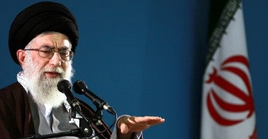 Iranian Supreme Leader Ayatollah Ali Khamenei speaks about the nuclear issue during a ceremony on November 3, 2009 in Tehran, Iran.   (Photo: UPI/HO/Khamenei official website)