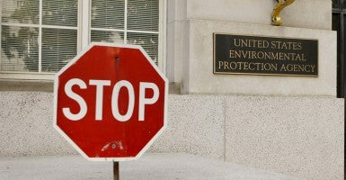 A stop sign is seen at one exit of the United States Environmental Protection Agency in Washington. (Photo: Fang Zhe/Newscom)