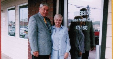 Robert and Susan Blair stand outside Riverside Home Health Care, the business they started in Grants Pass, Ore. (Photo: Courtesy of Michael Blair)