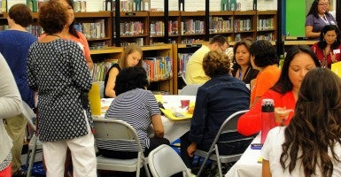 Teachers and other staff hold a 'back to school' meeting at K.W. Barrett Elementary School  in Arlington, Va. (Photo: K.W. Barrett/Creative Commons)