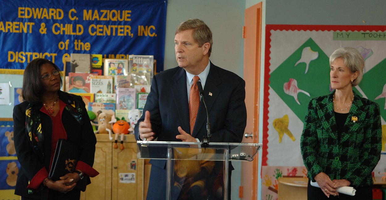 Almeta Keys, executive director of the Mazique Center, Agriculture Secretary Tom Vilsack and former Health and Human Services Secretary Kathleen Sebelius celebrated the anniversary of the Children's Health Insurance Program Reauthorization Act at the Mazique Center in 2010. (Photo: USDA Flickr/Creative Commons)