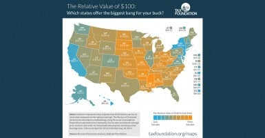 This map from the Tax Foundation tells what states give you the most bang for your hundred bucks.