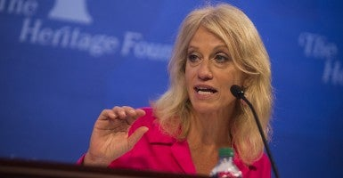 'Sharp relief': pollster Kellyann Conway at the Heritage panel event. (Photo: Jay Westcott)
