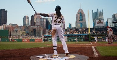 McCutchen waits on deck during the game between the St. Louis Cardinals and Pittsburgh Pirates at PNC Park in Pittsburgh. (Photo: Newscom)