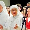 Little Sisters of the Poor, Sister Dorothy and Sister Marguerite, prepare to sing at a Rock-