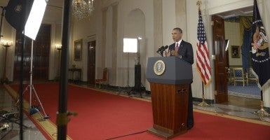 President Obama delivers a primetime address from the White House vowing to target the Islamic State. (Photo: Saul Loeb/UPI/Newscom)