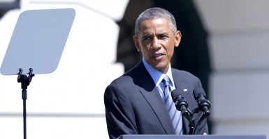President Obama speaks on the South Lawn of the White House. (Photo: Newscom)