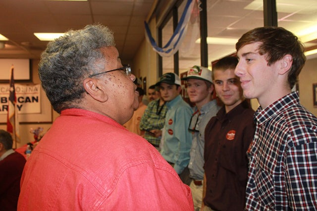 Ada Fisher, the Republican National committeewoman for North Carolina, tried to relate with college students at a campaign event. Photo: Josh Siegel/The Daily Signal