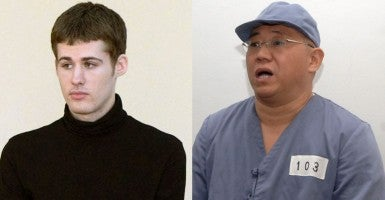 American Matthew Miller (left) after being sentenced to six years hard labor, and Kenneth Bae, a Korean-American Christian missionary detained in North Korea. Both were released Saturday. (Photos: Kyodo/Newscom and Yonhap News/Newscom)