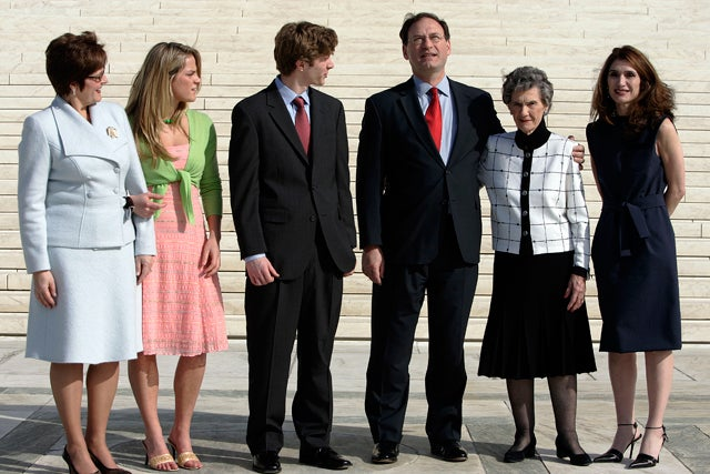 Justice Samuel Alito with, from left, his wife Martha, daughter Laura, son Phil, mother Rose, and sister Rosemary following his investiture to the U.S. Supreme Court on Feb. 16, 2006. (Photo: Chuck Kennedy/KRT/Newscom)