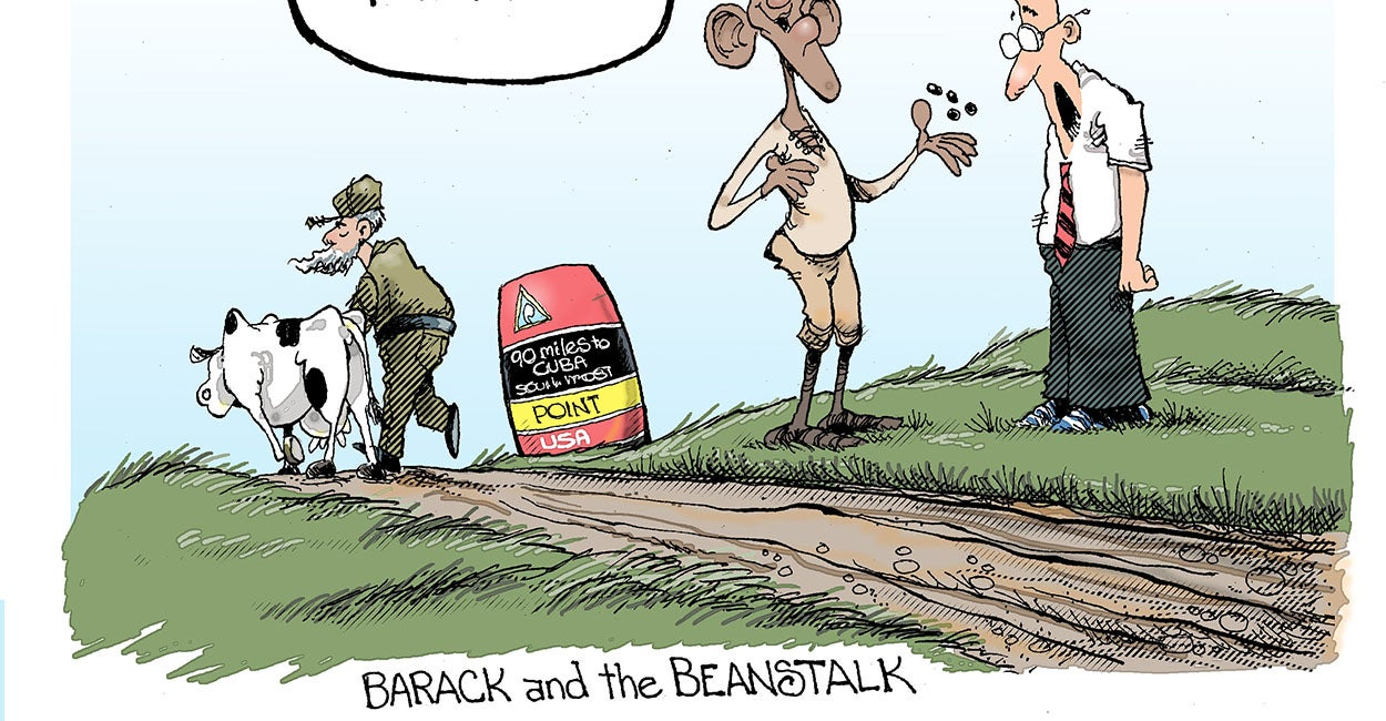 barack and the beanstalk a cuba and us political cartoon
