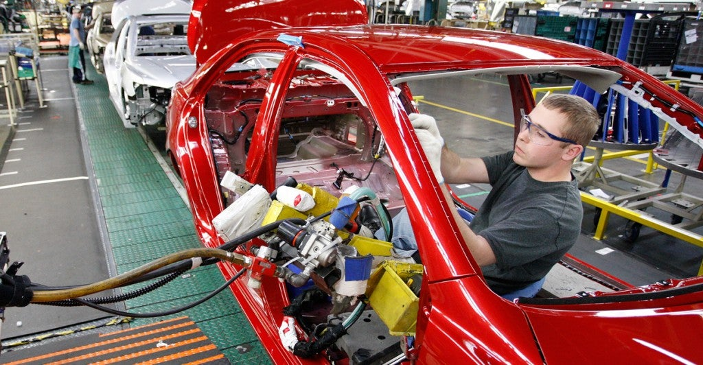 Supporters of right-to-work laws say Kentucky would benefit from more factories, such as this Toyota manufacturing plant in Georgetown, Ky. (Photo: Charles Bertram/Lexington Herald-Leader/ZUMAPRESS.com/Newscom)