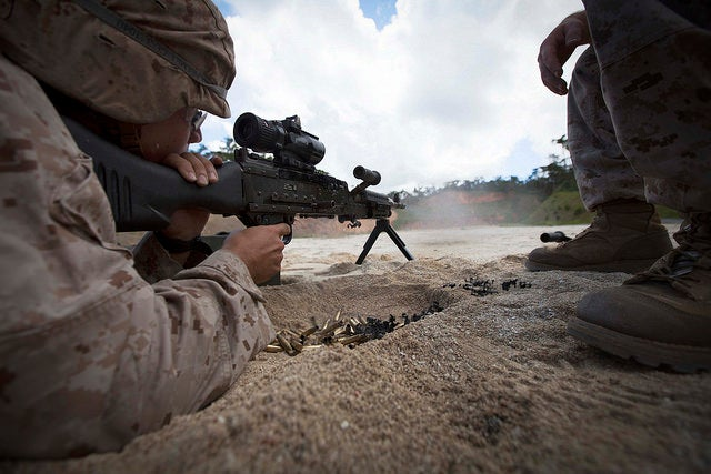 U.S. Marines with Combat Logistics Regiment (CLR) 37 conduct a live fire training sequence using the M240 Bravo Machine Gun on Camp Hansen, Okinawa, Japan. (Photo: Lance Cpl. Richard Currier/ Released)