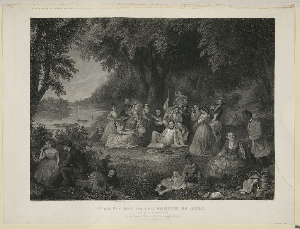 """An engraving of a picnic on the 4th of July, """"A day to be remembered."""" (Photo: Saml. Hollyer & J. Rogers/ The Library of Congress)"""