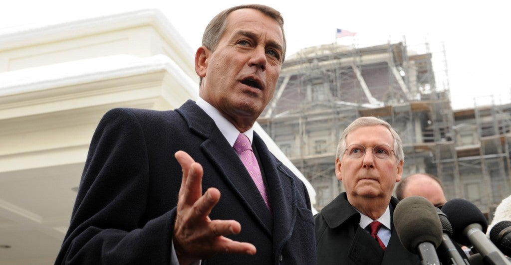 House Speaker John Boehner, R-Ohio, and Senate Majority Leader Mitch McConnell, R-Ky. (Photo: Michael Reynolds/EPA/Newscom)